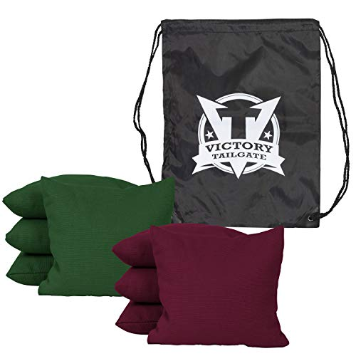 Victory Tailgate 8 Colored Corn Filled Regulation Cornhole Bags with Drawstring Pack (4 Burgundy, 4 Hunter Green) by Victory Tailgate (Image #1)
