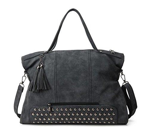 Studded Fashion Hobo Handbag (Punk Motorcycle Rivet Studded Cross Body Bag Women Pu Leather Top Handle Handbag Hobo Satchel Tassels Black)