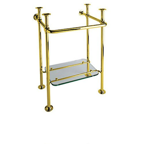 Rohl RW2231 Wash Stand 20 1/8 Wide Glass Shelf with Perrin & Rowe Victorian U.2863Wh Vitreous China Basin Lavatory Sink with Three Holes Wash, Inca Brass by Rohl
