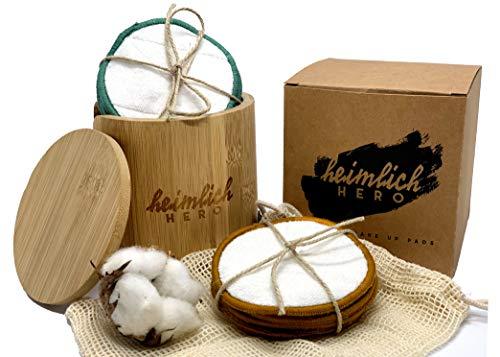 Heimlich Hero 20 Stk. waschbare Abschminkpads 3-lagig aus Bambus und Baumwolle | Nachhaltige Wattepads | Make up Entferner Set inkl. Waschnetz und Bambus Aufbewahrungsbox