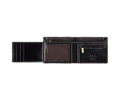WITTCHEN Portafoglio, Dimensione: 12,5x10cm, Nero, Materiale: Pelle di grano, Orizzontale, Collezione: Roma - 22-1-040-1