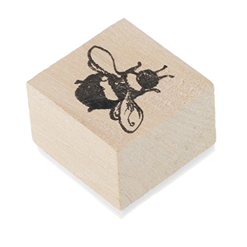 MagiDeal 1X Wooden Rubber Stamps Animal Plants Decor for Scrapbooking Stationery DIY - Bee, 30x30x23mm