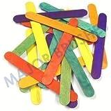 Bâtonnets pour sucette multicolore jumbo en bois pour loisirs créatifs et bricolage (lot de 100)