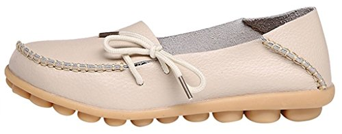 Sty Flat 1 ONS Fangsto Slipper Beige Leather Loafers Women's Shoes Cowhide Slip XwvBqvOz