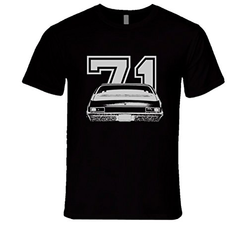 1971 Chevy NOVA Faded Look Rear View White Graphic with Year Dark T Shirt L Black