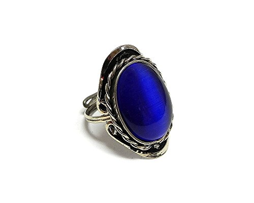 Mia Jewel Shop Oval Shaped Cat's Eye Gemstone Silver Rope Edge Adjustable Ring (Blue)