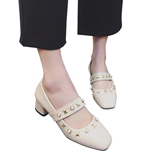 Hatop Pumps Schoenen, Vrouwen Enkelbandje Med Hak Imitatie Parel Schoenen Vierkante Hak Peep-toe Mary Jane Pumps Schoenen Beige