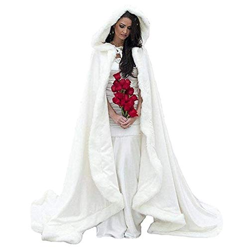 FairyBridal Women's Wedding Bridal Cloak Winter Christmas Capes Faux Fur Edge, White, Size: One size fit size 2 to size -