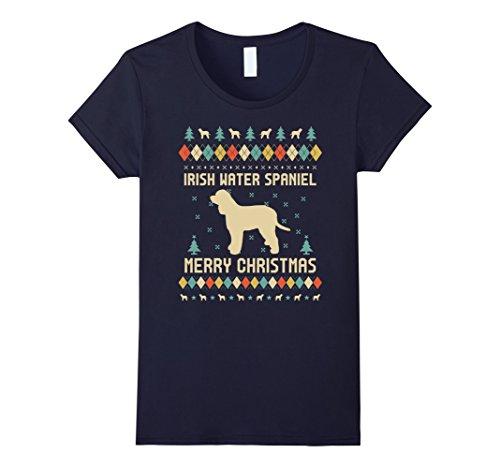 Womens Irish Water Spaniel Ugly Christmas Sweater T-shirt XL Navy