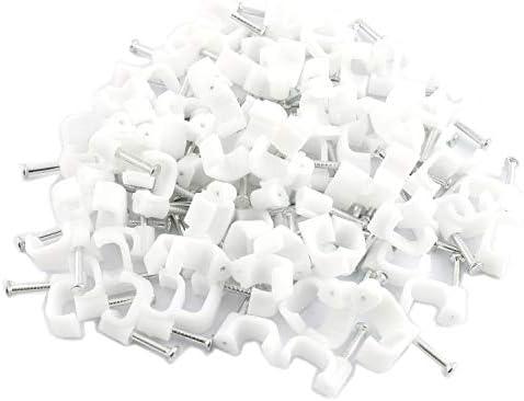 DGZZI 300pcs Cable Clips Steel Nail PE Plastic Clips Rectangle Cable ClampNail(100pcs 4mm + 100pcs 6mm + 100pcs 8mm)