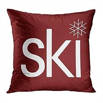 Wesbin Romantic Ski Hidden Zipper Home Sofa Decorative Throw Pillow Cover Cushion Case Square 18x18 Inch Two Sides Design Printed Pillowcase