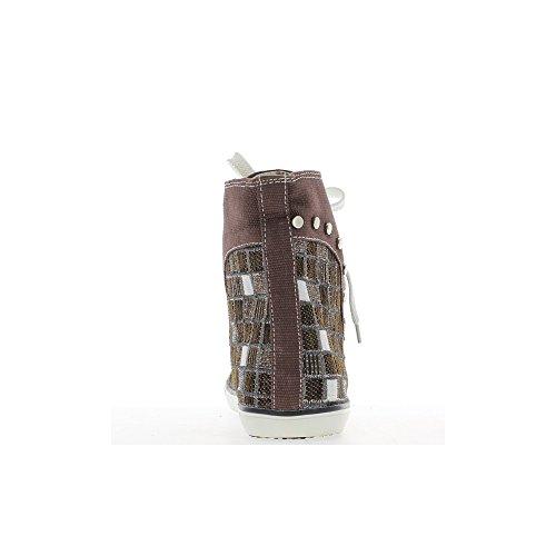 Baskets femme marrons montantes décor clous et brillants