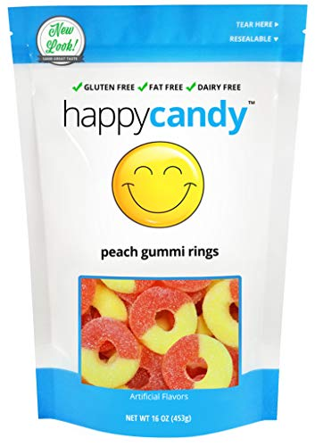 Happy Candy Peach Gummi Rings - Gluten Free, Fat Free, Dairy Free - Resealable Pouch (1 Pound) -