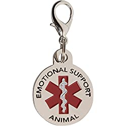 DOUBLE SIDED SMALL Emotional Support Animal (ESA) with Red Medical Alert Symbol .999 inch Stainless Steel ID Tag. QUICK RELEASE metal lobster clamp allowing you to switch between collars and vest.