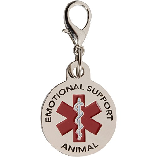 Flight Dog Tag Necklace (DOUBLE SIDED Emotional Support Animal (ESA) with Red Medical Alert Symbol 1.25 inch Durable Stainless Steel ID Tag. QUICK RELEASE metal lobster clamp allowing you to switch between collars and vest.)
