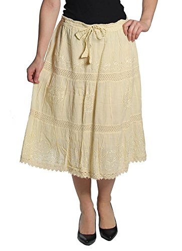 KayJayStyles Solid Color Bohemian Hippie Belly Gypsy Short Cotton Mid Length Skirt (Cream)