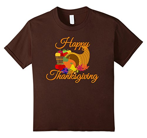 Kids Happy Thanksgiving T-Shirt with Cornucopia 12 Brown