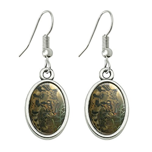 Graphics and More Ocelot Wild Cat Novelty Dangling Drop Oval Charm Earrings