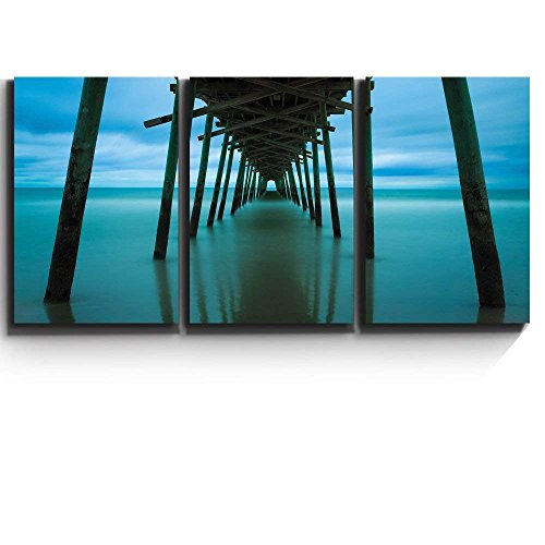 Print Contemporary Art Wall Decor Peaceful Jetty Leads into Ocean Artwork Wood Stretcher Bars x3 Panels