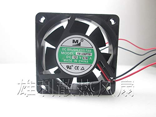 REFIT M YM1206PTB1 12V 0.33A 6CM 6025 2-Wire Power Supply Double Ball Cooling Fan