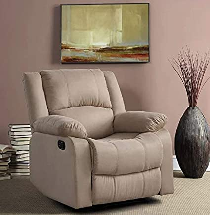 Amazon.com: Recliner Chair Reclining Sofa For Living Room Pushback  Microfiber Home Theater Single (Beige): Kitchen U0026 Dining