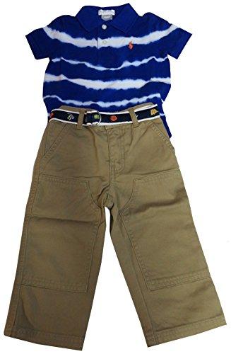 Ralph Lauren Polo Infant Boys 2 Piece Outfit Blue Shirt & Khaki Pants (6 Months)