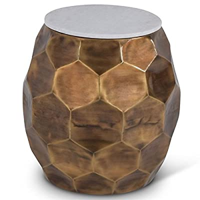 """Steve Silver Stomp 20"""" Round Marble Top Accent End Table in Brass"""