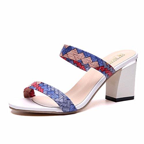 Les Femmes Mesdames Sandales Chaussures YUCH de Épais Blue Talon Plage xBO5qqvwXn