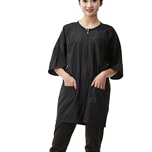 Salon Professional Hairdressing Technicians Serve , Colorfulife Zip-up Shirt Adult Hair Clothing Hair Cutting Clothes Hairdressing Overalls Beauty SPA Barber Gown Wai Cloth A009 (Black) by (Cutting Cloth)