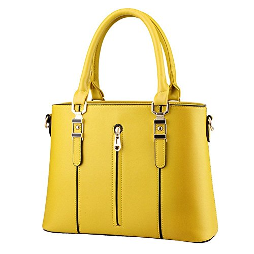 qckj Fashion Cruz Cuerpo Bolsa De Hombro Estilo Europeo Mujeres PU Soild cremallera bolso amarillo