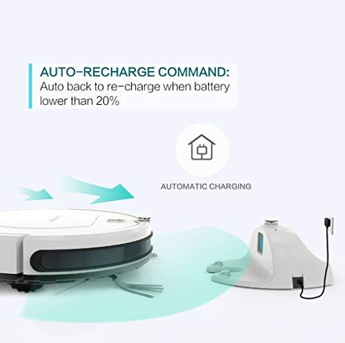 Golongele Robot Aspirador, succión de 1400Pa, Auto Recarga de batería, 4 Modos de Limpieza, Robot Aspirador para pelos de Perro, Suelos de parquet y alfombras de Pelo Corto