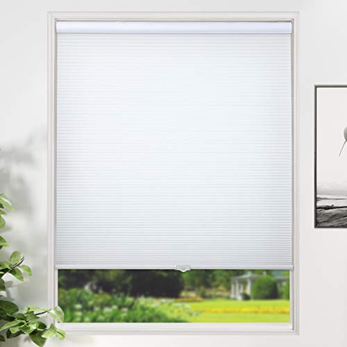 SUNFREE Cordless Shades Cellular Blinds Honeycomb Shades Light Filtering Window Blinds Door Shades for Home and Office 39 x 64 inch White