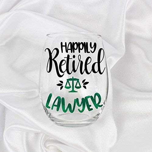 Retired Lawyer Law Gifts for Women 20oz Retirement Party Idea Stemless Wine Glass 0149