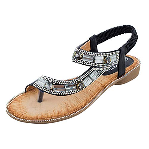 (Women's Ladies Bohemian Toepost Crystal Elastic Band Beach Sandals Roman Shoes Gladiator Sandals Black)