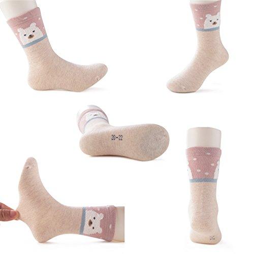 SUNBVE Toddler Little Girls Bears Fun Cotton Ankle Socks 5 Pack by SUNBVE (Image #4)