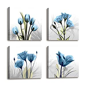 Wall Decorations For Living Room Decor – 4 Panel Elegant Tulip Flower Canvas Print Wall Art Paintings For Dining Room…