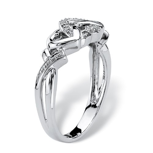Platinum over Sterling Silver Diamond Accent Interlocking Heart Promise Ring