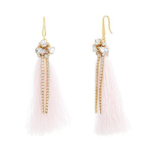 - Catherine Malandrino Rhinestone Fringe Tassel Yellow Gold-Tone Dangle Earrings for Women (Pink)