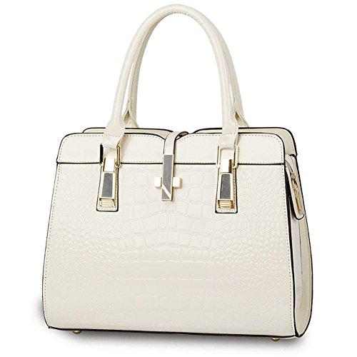 QCKJ-Lorenz-Borsa a tracolla da donna in stile europeo, in borsetta di coccodrillo, colore: bianco