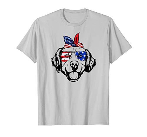 Golden Retriever Glasses US American Flag July 4th Shirt