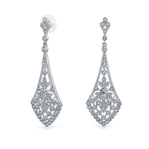 Ring Deco Crystal (Deco Style Fan Teardrop Shaped Crystal Chandelier Pageant Prom Statement Earrings For Women For Teen Silver Plated Brass)