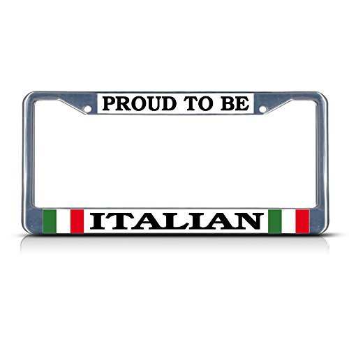 (Proud Italian Italy Metal License Plate Frame Tag Border Two Holes Perfect for Men Women Car garadge Decor)