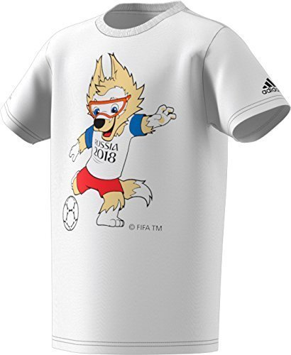 Mascot Large Adidas T-shirt (adidas World Cup Soccer World Cup Mascot Youth Boys World Cup Mascot Tee, Medium, White)
