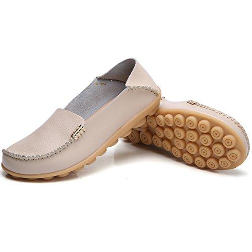 Temofon Damen Leder Loafers Walking Mokassin Driving Schuhe Slip-On Wohnungen Casual Hausschuhe Beige