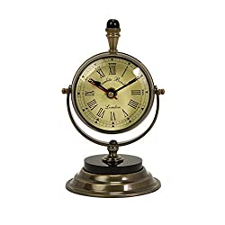 Voyager Soren Brass Table Clock and Compass by Benzara