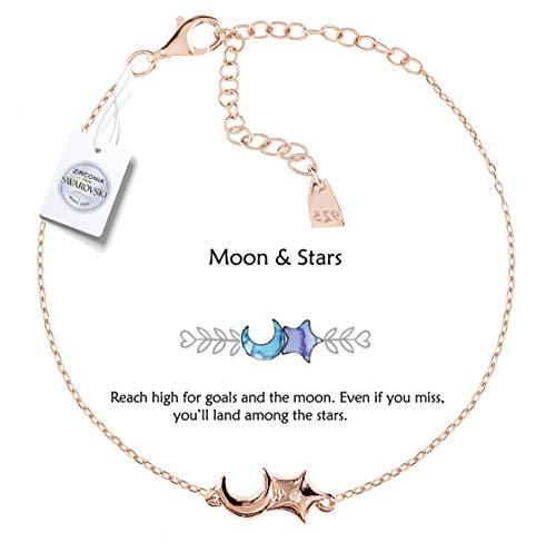 Vivid&Keith Womens Girls 925 Real Sterling Silver 18K Plated Swarovski Zirconia Cute Adjustable Gift Fashion Jewelry Link Chain Charm Pendant Bangle Bracelet, Moon & Star, Rose Gold Plated
