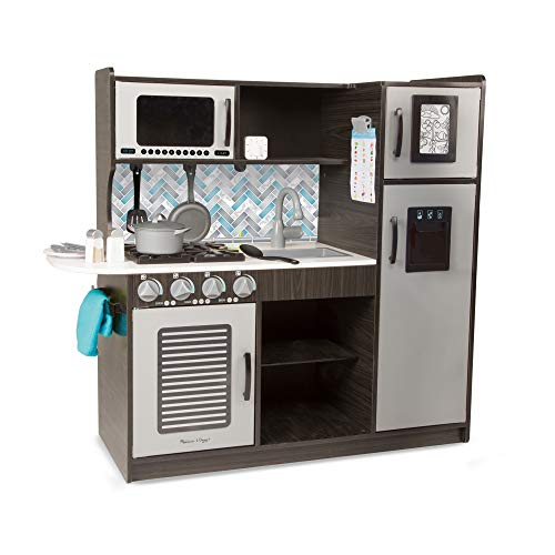 """Melissa & Doug Wooden Chef's Pretend Play Toy Kitchen With """"Ice"""" Cube Dispenser, Easy to Assemble, Charcoal, 39"""" H x 15.5"""" W x 43.25"""" L"""