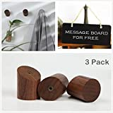 COMMODA Black Walnut Natural Wooden Coat Hooks Wall Mounted Vintage Single Utility Rack Organizer Hangers, Handmade Decorative Craft Clothes Hat Bags Rack, (set of 3) Message board free