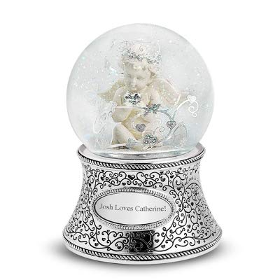 Things Remembered Personalized Cherub Musical Snow Globe with Engraving Included (Angel Snowglobe Musical)