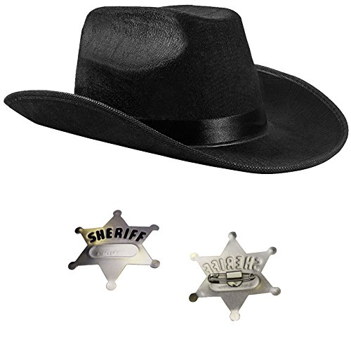Cowboy Hat - Kids Sheriff Costume with Toy Police Badges by Funny Party Hats (Adult Black Cowboy Hat)